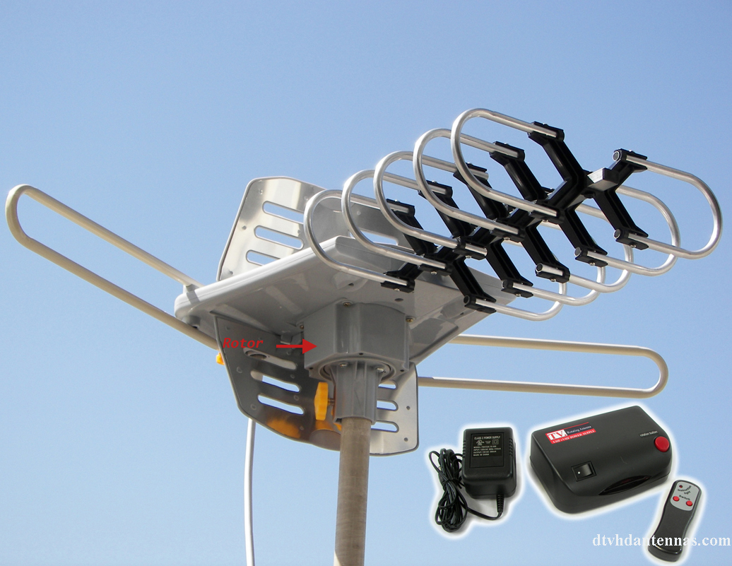 WA-2608 HDTV 150 Miles Outdoor Amplified Antenna HD TV 36dB Rotor Remote  360° UHF/VHF/FM