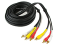 25-FT 3 RCA Composite AV Audio Video Cable Gold Plated Male M/M 25'